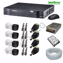 Kit Cftv 4 Cam Hdcvi 1120b Intelbras Dvr 8can Intelbras1008