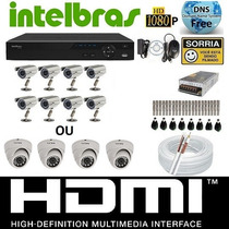 Kit Cftv Dvr Intelbras+8cameras Infra 800l/30m+fonte+cabo