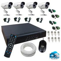 Kit Dvr 4 Camera Segurança Cftv 100mt Cabo Conector Fontes