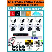 Kit Cfvt Ahd-m 8 Cameras Infra 1mp + Dvr C/hd 1tb Completo