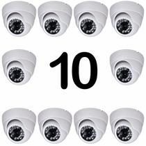 Kit 10 Cameras Dome Ccd Infra Vermelho 24 Leds 1000 Linhas