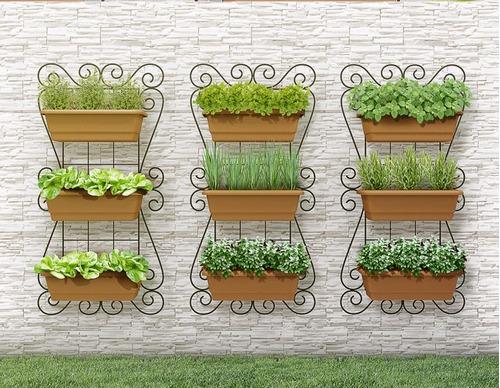 horta jardim vertical:Kit Painel Jardim Vertical Suspenso 100x50cm Horta Olilo – R$ 199,00