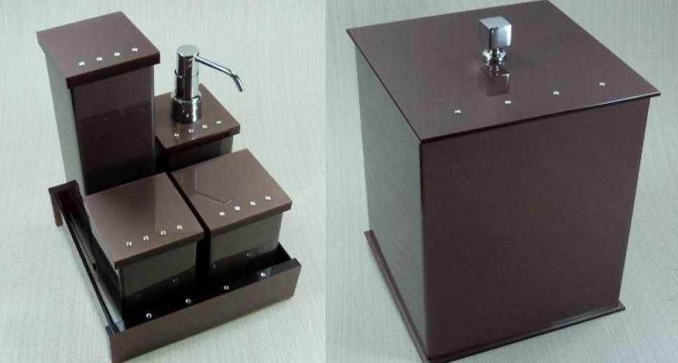 Kit De Banheiro Em Acrilico : Kit potes p banheiro em acr?lico chocolate