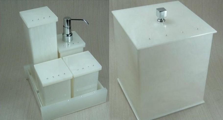 Kit Para Banheiro Em Acrílico : Kit potes p banheiro em acr?lico p?rola c strass lixeira