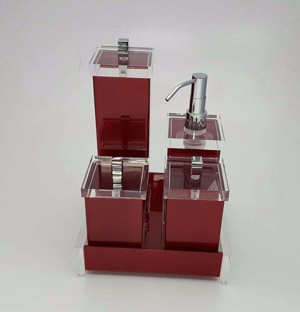 Kit Para Banheiro Em Acrílico : Kit potes para banheiro em acr?lico cereja c puxador