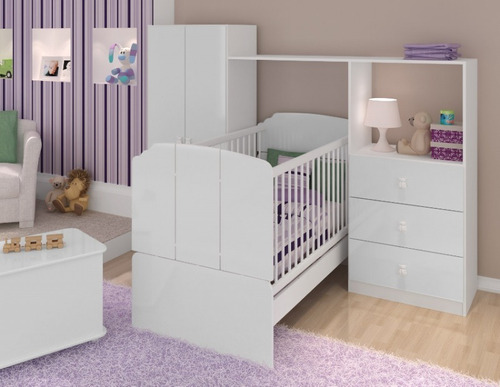 Quarto Infantil Completo Para Bebe ~ Kit Quarto Completo Ninar Infantil Beb? Com Ber?o Vira Cama  R$ 849