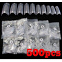 500 Tips Unhas Acrílicas Cor Transparente - Cola 10gr Grátis