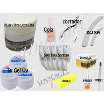 Kit Unha Gel Uv Pó De Fibra Primer 500 Tips Cortador Lixas