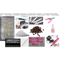 Kit Acrigel Unhas Lixa Motor Cola Alicate Lâmpada Uv #180