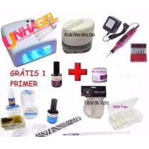 Kit Unha Gel Uv Cabine Uv 36w 220v Uv Fibra De Vidro Gel Uv