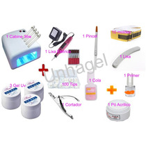 Kit Unha Acrigel Gel Uv Cabine 36w Primer Tips Pincel Cola