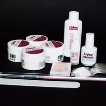 Kit Lidan Acrigel Gel Uv Unha Topcoat Molde Cola 12 Itens