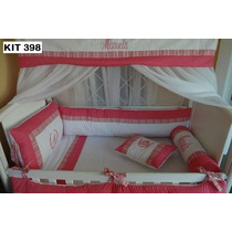Kit Berço Personalizados 10 Pçs Provençal Luxo Vermelho