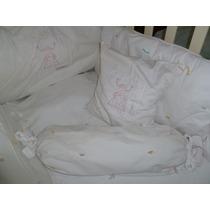 Kit Protetor De Berço 9 Pçs P/ Menina Branco Detalhes Rosa