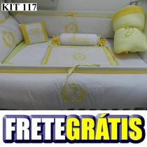 Kit Berço Personalizados 9 Pçs Provençal Amarelo Com Branco