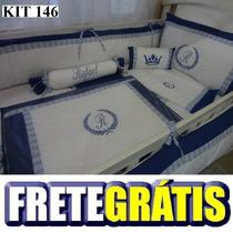 Kit Berço Personalizados 9 Pçs Provençal Azul Marinho Branco