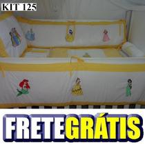Kit Berço Personalizados 10 Pçs Amarelo Princesas Disney