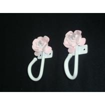 Par Gancho Reposteiro P/ Mosquiteiro/ Voal-com Flor-aluminio