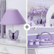 Kit Acessórios Abajur Cesta Com Potes Coleção Butterfly