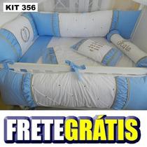 Kit Berço Personalizados 10 Pçs Provençal Azul C Marrom