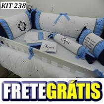 Kit Berço Personalizado 10pç Provençal Coroa Azul C Marrom