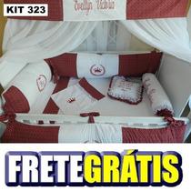 Kit Berço Personalizados 10 Pçs Provençal Vermelho Coroa