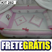 Kit Berço Personalizado 10 Pçs Gata Marie Rosa Claro C/ Pink