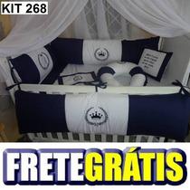 Kit Berço Personalizado 10pçs Provençal Azul Marinho Coroa