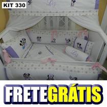 Kit Berço Personalizados 10 Pçs Minnie Baby Rosa E Lilás