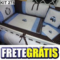 Kit Berço Personalizado 10 Pçs Provençal Fusca Azul C Marrom