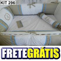Kit Berço Personalizado 10 Pçs Provençal Marrom C Viés Azul
