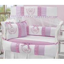Kit Berço Princesa 100% Algodão Branco Com Rosa 10 Peças