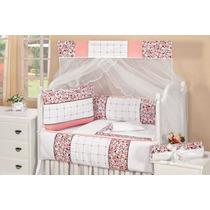 Kit Berço Americano Rosa Floral Branco Patchwork 100%algodão