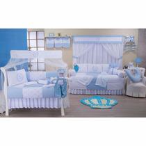 Kit De Berço Coroa Realeza Azul Bebê 10 Pçs 100% Algodão 1lb