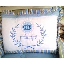 Kit Berço Tema Principe Realeza Azul Coroa Bordado + Saia