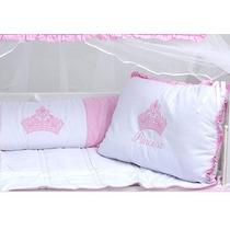 Kit Protetor De Berço Menina Princesa Rosa Ac 100% Algodão