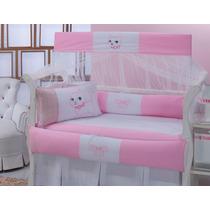 Kit Berço Gatinha 8 Pçs (rosa) 100% Algodão