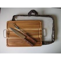 Kit Para Churrasco Em Madeira Teca 38x28cm (faca+garfo+sacol