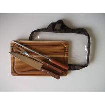 Kit Para Churrasco Em Madeira Teca 32x20cm (faca+garfo+chair