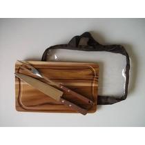 Kit Para Churrasco Em Madeira Teca 32x20cm (faca+garfo+sacol