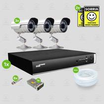 Kit Segurança Dvr Stand Alone 4 Canais Luxvision C/3 Cameras