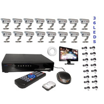 Kit Cftv Dvr 16 Canais + 16 Cameras 700l+ Monitor +hd