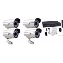 Kit Dvr + 4 Cameras H.264 Fps120 Via Internet + Instalação