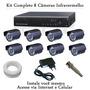 Kit Cftv Dvr 8 Canais 8 Cameras Infravermelho Visao Noturna