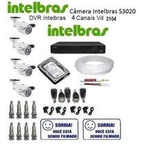 Kit Cftv Intelbras Dvr 4 Canais+4câmeras Infra+hd+cabo+fonte