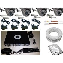 Kit Dvr 8ch+ 4 Cameras Infra 700+ 4 Fonte+ Cabo+ Hd 500+ Bnc