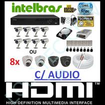 Kit 8 Cameras Infravermelho Dvr 8 Canais Intelbras 3108 , Hd
