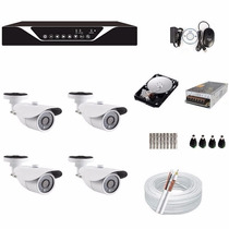 Kit Cftv 4 Cameras Ahd 720p Dvr 8 Canais Ahd Sup. Luxvision