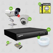 Kit Segurança Dvr Stand Alone 8 Canais Luxvision C/6 Cameras