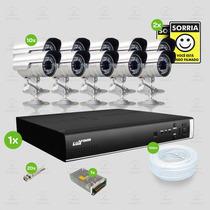 Kit Segurança Dvr Stand Alone 16 Canais Luxvision 10 Cameras